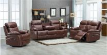 Edwin Aire Leather Recliner Sofa Set (Black)