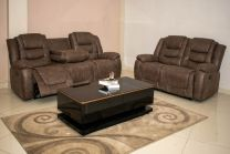 Lewis Aire Leather Recliner Sofa Set (Brown)
