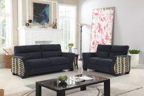 Lucca Brown Fabric Sofa Set (6 seater)