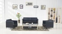 Concord Black Leather Office Sofa Set