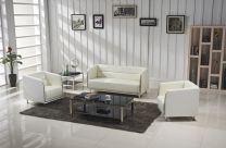 Titanium Leather Office Sofa ( Chocolate)